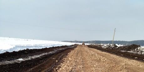 Строительство дорог в поселке. Февраль 2014