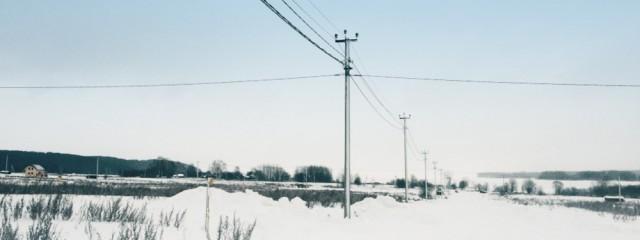 Январь 2015. Строительство электросетей в поселке.